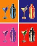 Uppsättning av kulöra Martini coctailar med oliv Shaker Vector Illustration Arkivfoto