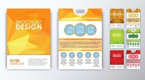 Uppsättning av kulöra polygonal broschyrer Fotografering för Bildbyråer