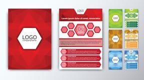 Uppsättning av kulöra polygonal broschyrer Arkivfoton