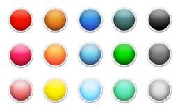 Uppsättning av kulöra runda knappar Royaltyfria Foton