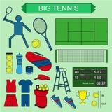 Uppsättning av kulöra stora tennissymboler Royaltyfri Fotografi