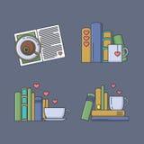 Uppsättning av kulöra symboler för bokfans Royaltyfria Bilder