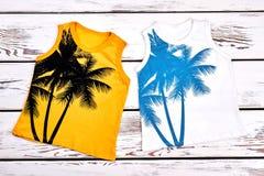 Uppsättning av kulöra utskrivavna t-skjortor för ungar Royaltyfri Foto