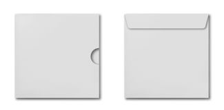 Uppsättning av kuvert för vit fyrkant Fotografering för Bildbyråer