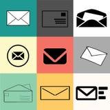 Uppsättning av kuvert - rengöringsduksymboler, lägenhetdesign, olika färger, format och bakgrunder Rengöringsdukbruk, minimalisti vektor illustrationer