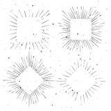 Uppsättning av kvadrerade och romb formade hand drog strålramar för tappning Royaltyfri Foto