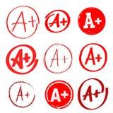 Uppsättning av kvalitetsresultatet A+ Hand dragen kvalitet med plus i cirkel stylized naturligt för teckningselement freehand ock Royaltyfri Fotografi