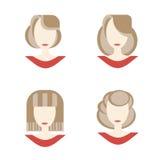 Uppsättning av kvinnaframsidan vektor illustrationer