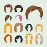Uppsättning av kvinnahår som utformar frisyr för färg för brun kontur för vektorillustrationbarn vård- stock illustrationer