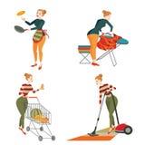 Uppsättning av kvinnan som är förlovad i hushållsarbete Arkivbilder