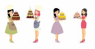 Uppsättning av kvinnliga tecken med en kaka Härlig hemmafru, ledar- bagare för kvinna som rymmer en läcker paj Royaltyfria Foton