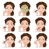 Uppsättning av kvinnor med smink Royaltyfria Bilder