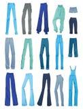 Uppsättning av kvinnors jeans Arkivfoto