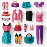 Uppsättning av kvinnors kläder och tillbehör Arkivfoto