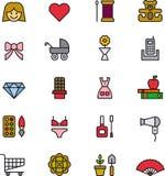 Uppsättning av kvinnors objektsymboler eller symboler Arkivfoto