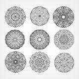 Uppsättning av kyrkliga gotiska cirkelprydnadrosor i vektor, b Arkivfoto