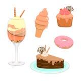 Uppsättning av läckra sötsaker och efterrätter royaltyfri illustrationer