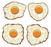 Uppsättning av läckra stekte ägg för frukost Fotografering för Bildbyråer