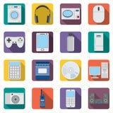 Uppsättning av lägenhethemaplliances och symboler för elektroniska apparater Arkivbild