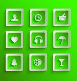 Uppsättning av lägenhetpapperssymboler Royaltyfria Bilder