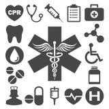 Uppsättning av läkarundersökning- & hälsovårdsymboler Royaltyfria Foton
