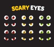 Uppsättning av läskiga ögon vektor illustrationer