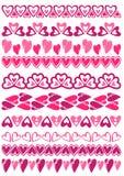 Uppsättning av Lace papper med hjärta, vektor Arkivfoto