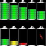 Uppsättning av laddande batterier Arkivfoton