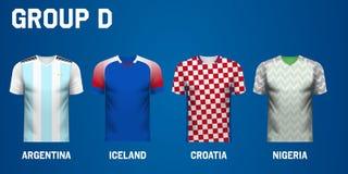 Uppsättning av lagärmlös tröja för grupp D av fotbollturnering i Ryssland royaltyfri illustrationer