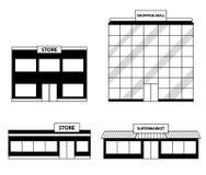 Uppsättning av lagret, shoppinggalleriasymboler stock illustrationer