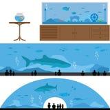 Uppsättning av landskapet för fiskbehållare och akvarium Arkivfoton