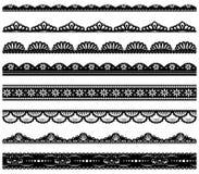 Uppsättning av langetterade vektorgränser Royaltyfri Illustrationer