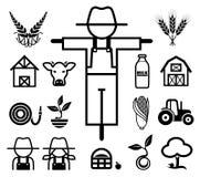 Uppsättning av lantbruksymboler Arkivbilder