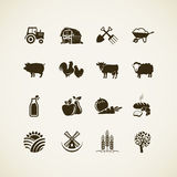 Uppsättning av lantgårdsymboler royaltyfri illustrationer