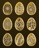 Uppsättning av laser klippta lyckliga påskägg Vektorstencil dekorativ Ea royaltyfri illustrationer