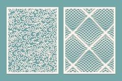 Uppsättning av laser-snittpaneler Mallmodeller för dekorativa paneler Kanfas som ut klipps Papper klippt dekorativ design stock illustrationer