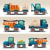 Uppsättning av lastbilar och traktorer för trans. Arkivfoto