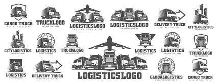Uppsättning av lastbillogoen, lastlogo, leveranslastlastbilar som är logistiska royaltyfri bild