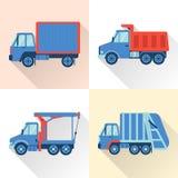 Uppsättning av lastbilsymboler i plan stil med lång skugga vektor illustrationer