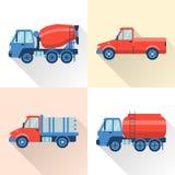 Uppsättning av lastbilsymboler i plan stil med lång skugga stock illustrationer