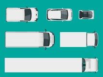 Uppsättning av lastlastbilar ovanför sikt Isolerade leveransmedel Lastlastbil och skåpbil också vektor för coreldrawillustration stock illustrationer