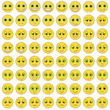 Uppsättning av ledset grönögt för emoticons, snällt, lyckligt Vektor Illustratio Arkivbilder