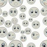Uppsättning av ledsna emoticons, snäll lycklig sömlös monokrom Vektor il Royaltyfri Bild