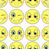 Uppsättning av ledsna emoticons, snällt lyckligt sömlöst också vektor för coreldrawillustration Royaltyfria Bilder