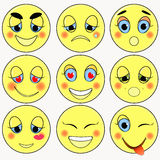Uppsättning av ledsna som emoticons är snäll, förälskelse som är lycklig också vektor för coreldrawillustration Royaltyfri Fotografi