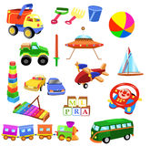 Uppsättning av leksaker Arkivfoto