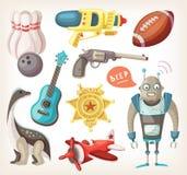 Uppsättning av leksaker för barn Arkivbild