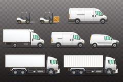 Uppsättning av leverans- och trans.medelillustrationer royaltyfri illustrationer