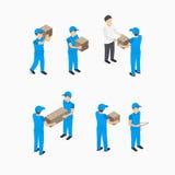 Uppsättning av leveransmannen med askar stock illustrationer