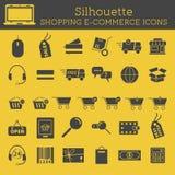 Uppsättning av on-line isolerade shoppingsymboler för kontur royaltyfri illustrationer